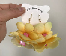 Yellow Flower Earrings with Hot Pink Square Beads