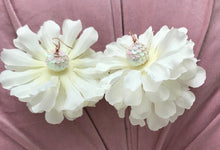 White Flower Earrings with Sequin Bead (Bachelorette Earrings)