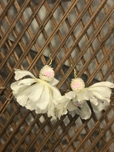 Smaller White Flower Earrings with Sequin Beads