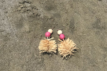 Fluffy Raffia Earrings with Straw Beads (Inspired by Beach Grass)