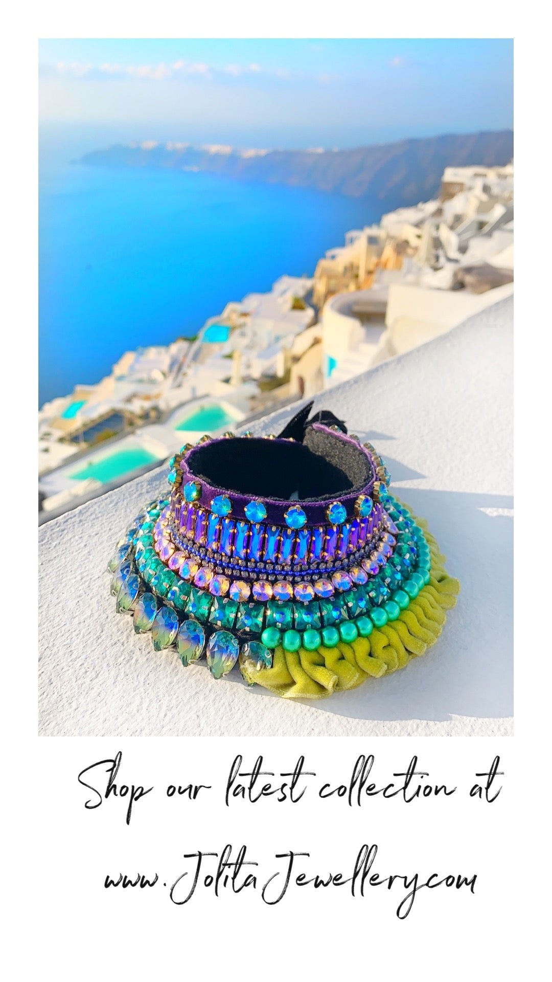 Alaya collar by Jolita Jewellery with crystal embroider overlooking Santorini caldera