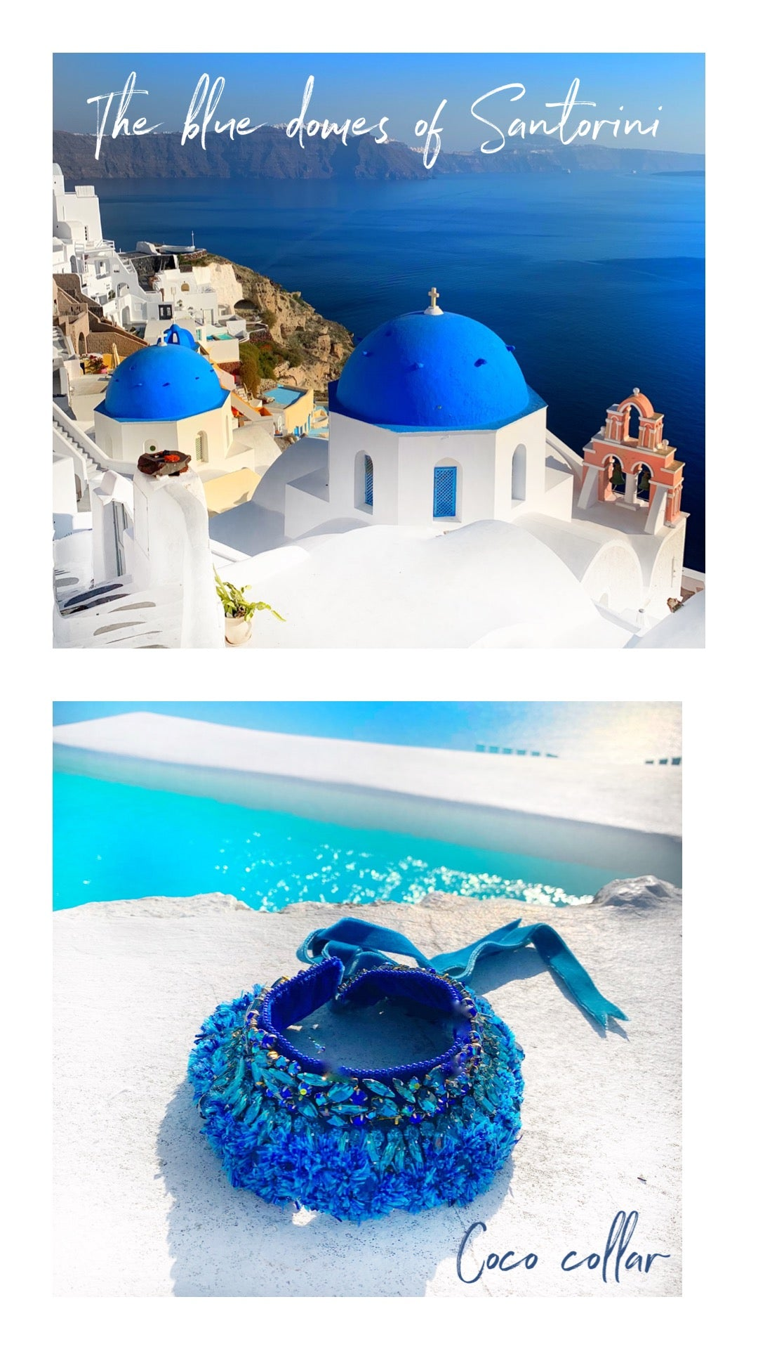 Blue domes of Santorini and Jolita Jewellery's Coco collar