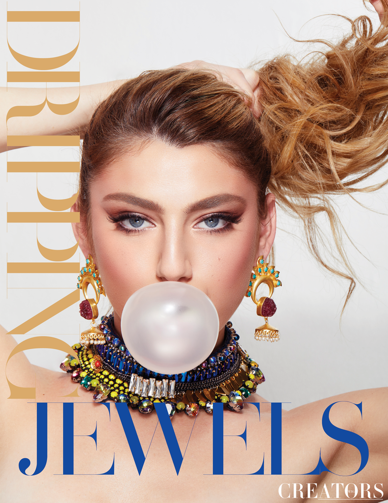 Jolita Jewellery's crystal statement necklace featured in the Dripping Jewels editorial
