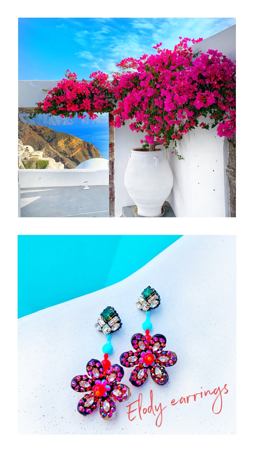 Colourful Elody crystal earrings by Jolita Jewellery and Santorini blooms