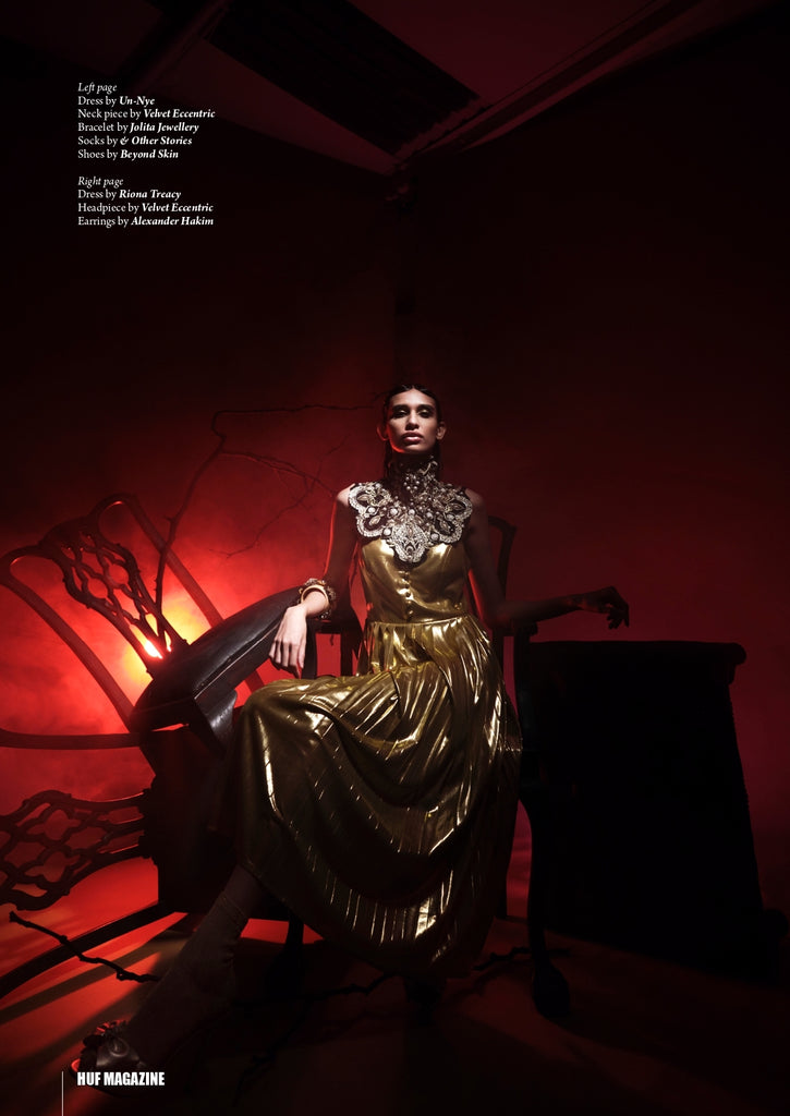 Jolita Jewellery's resin and crystal bracelet, featured in Golden Age editorial