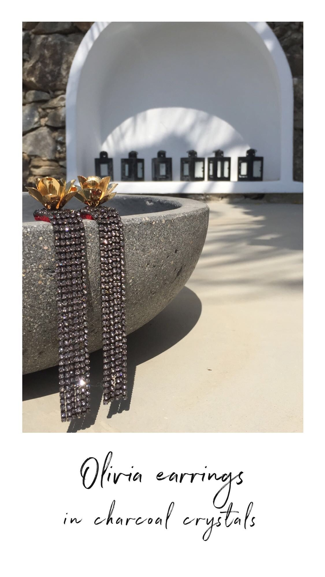 Olivia statement earrings with charcoal crystals