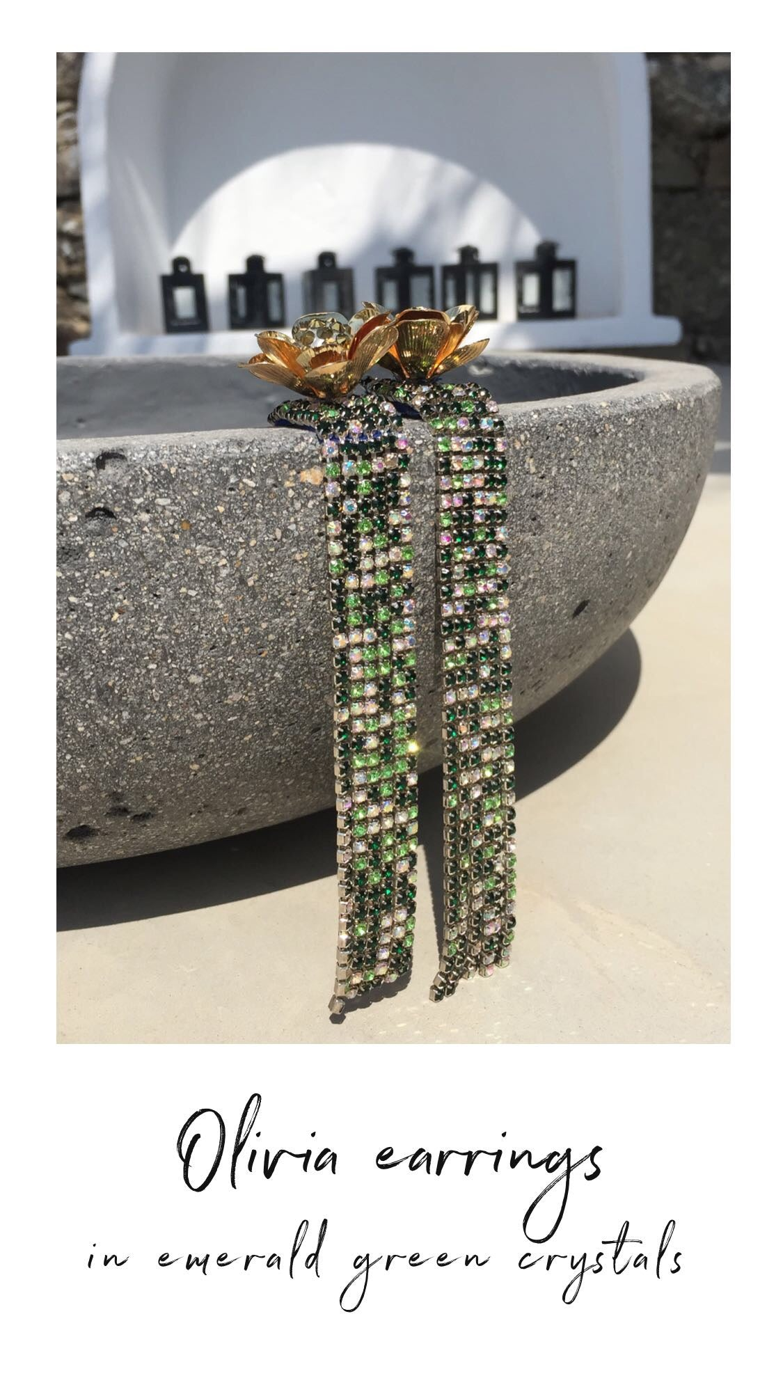 Olivia statement earrings with emerald green crystals