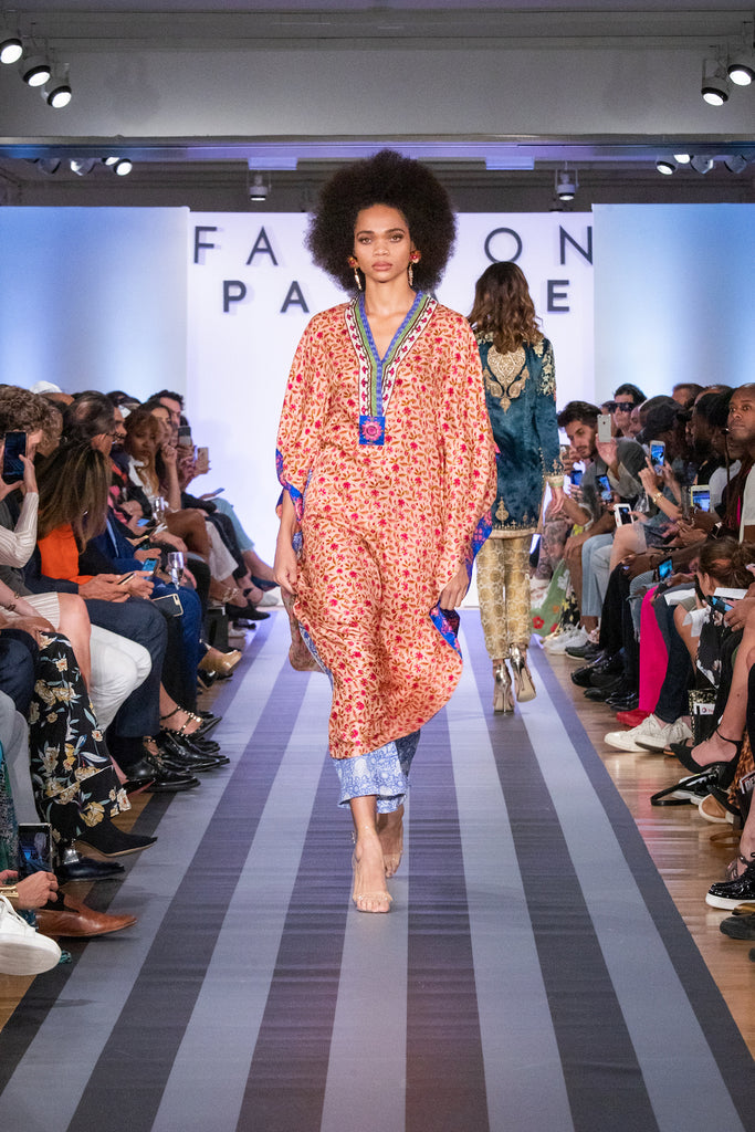 Jolita Jewellery Frida statement earrings on the catwalk for Fashion Parade New York 2019