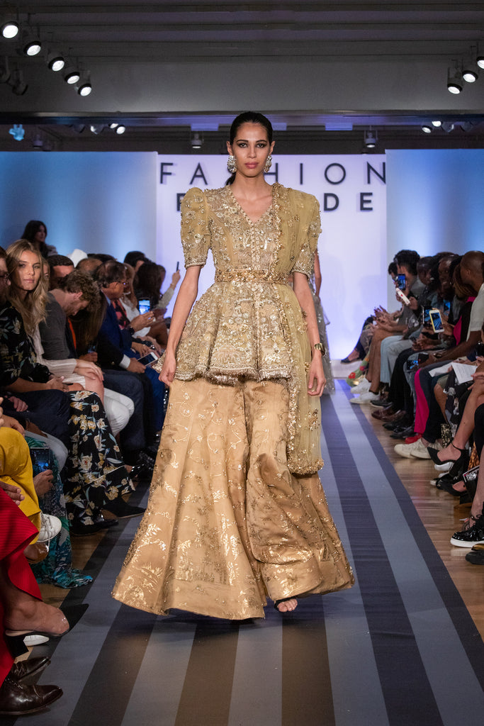 Jolita Jewellery Rania crystal earrings on the catwalk for Fashion Parade New York 2019