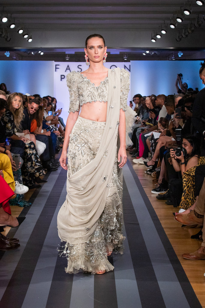 Jolita Jewellery crystal earrings on the catwalk for Fashion Parade New York 2019