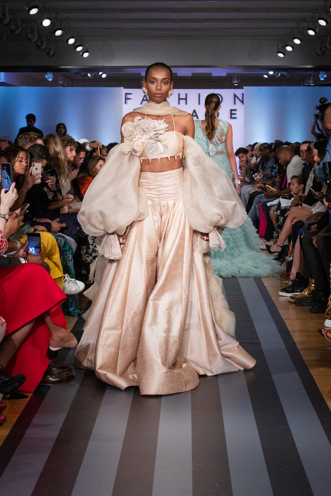 Jolita Jewellery's Samira crystal earrings on the catwalk for Fashion Parade New York 2019