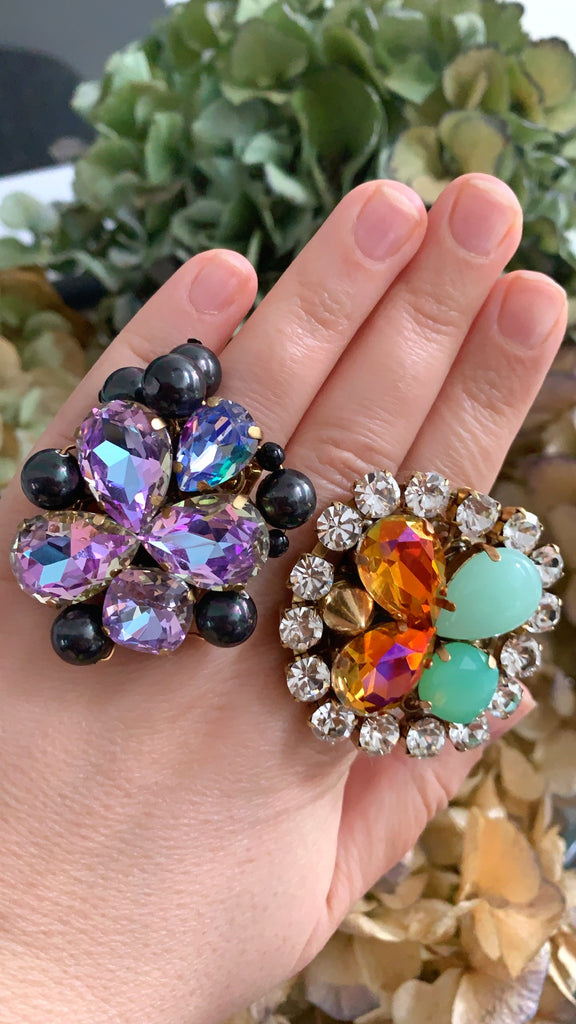 Jolita Jewellery's cocktail rings, created with sparkly crystals