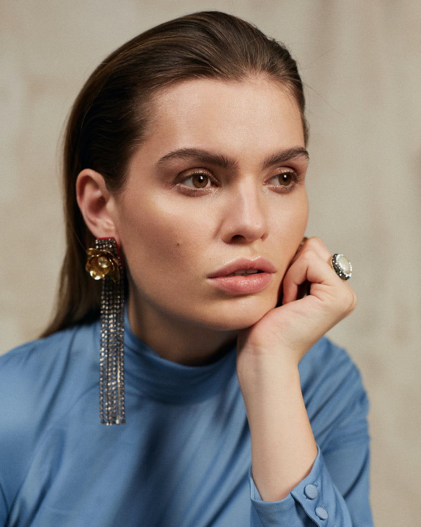 Jolita Jewellery's Olivia earrings made with dipped in gold flowers, Swarovski pearls and a cascade of crystals
