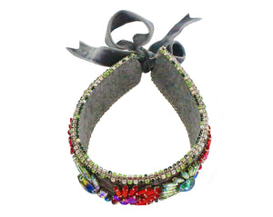 Adriana choker grey with crystal embroidery