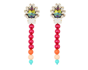 Colourful Alaya crystal and pearl earrings by Jolita Jewellery.