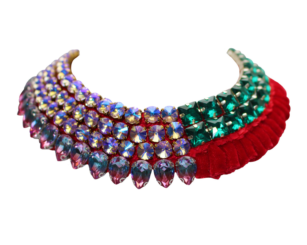 Luxury Alaya statement collar by Jolita Jewellery, adorned with ornate crystal embroidery and luxury velvet.