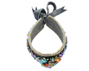 Alessandra choker grey with crystal embroidery