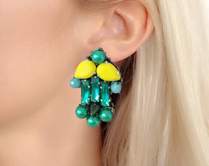 Green crystal and green faux pearl statement earrings by Jolita Jewellery