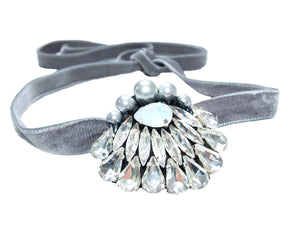An elegant grey velvet chocker with faux pearl and clear rhinestone embroidery
