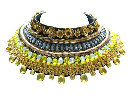 Luxury bespoke statement collar, with dipped in gold crystals, beads and flowers.