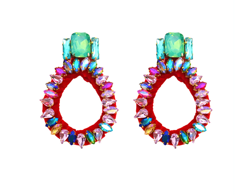 Bella small hoop crystal earrings