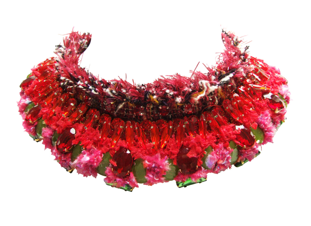 Luxury Coco collar by Jolita Jewellery, adorned with handmade ornate crystal embroidery and colourful yarns.