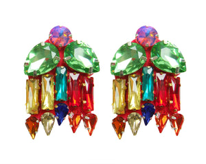 Multicoloured crystal earrings by Jolita Jewellery.