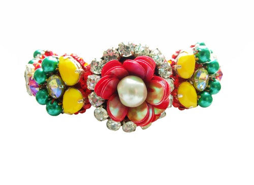 Colourful Elsa chocker by Jolita Jewellery, adorned with a myriad of handmade ornate embroidery and Swarovski crystals.