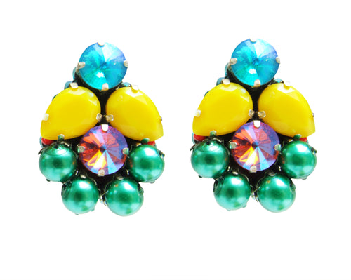 Yellow crystal and green faux pearl statement earrings by Jolita Jewellery