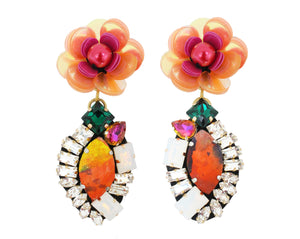 Striking Frida earrings are handmade with asymmetric crystal embroidery and vibrant sequin flowers.