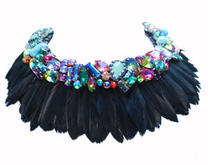 Opulent Gabrielle women's necklace by Jolita Jewellery, handmade with layers of black feathers and adorned with an array of colourful crystals.