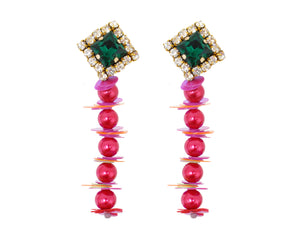 Colourful Georgia earrings by Jolita Jewellery handmade with cerise pearls, sequins and crystal embroidery.