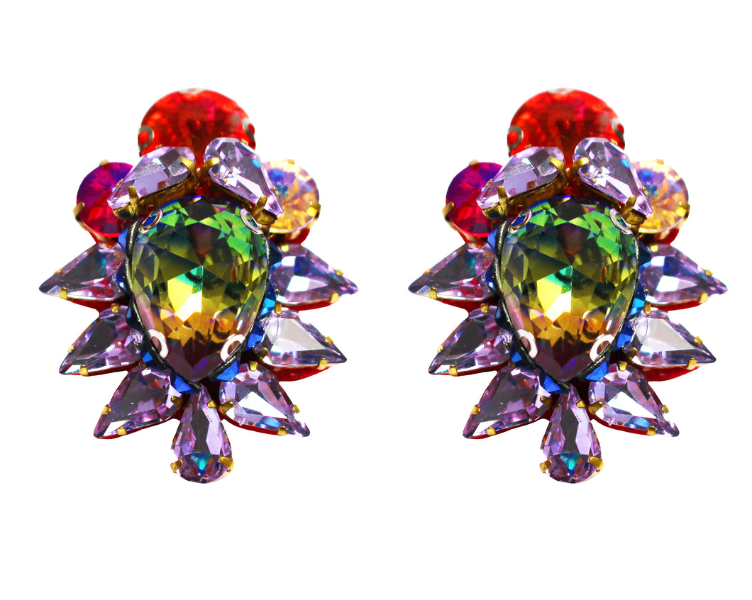 Colourful Gigi earrings by Jolita Jewellery, decorated with beautiful vibrant crystals. Great with jeans and a t-shirt as well as with a gorgeous evening gown.