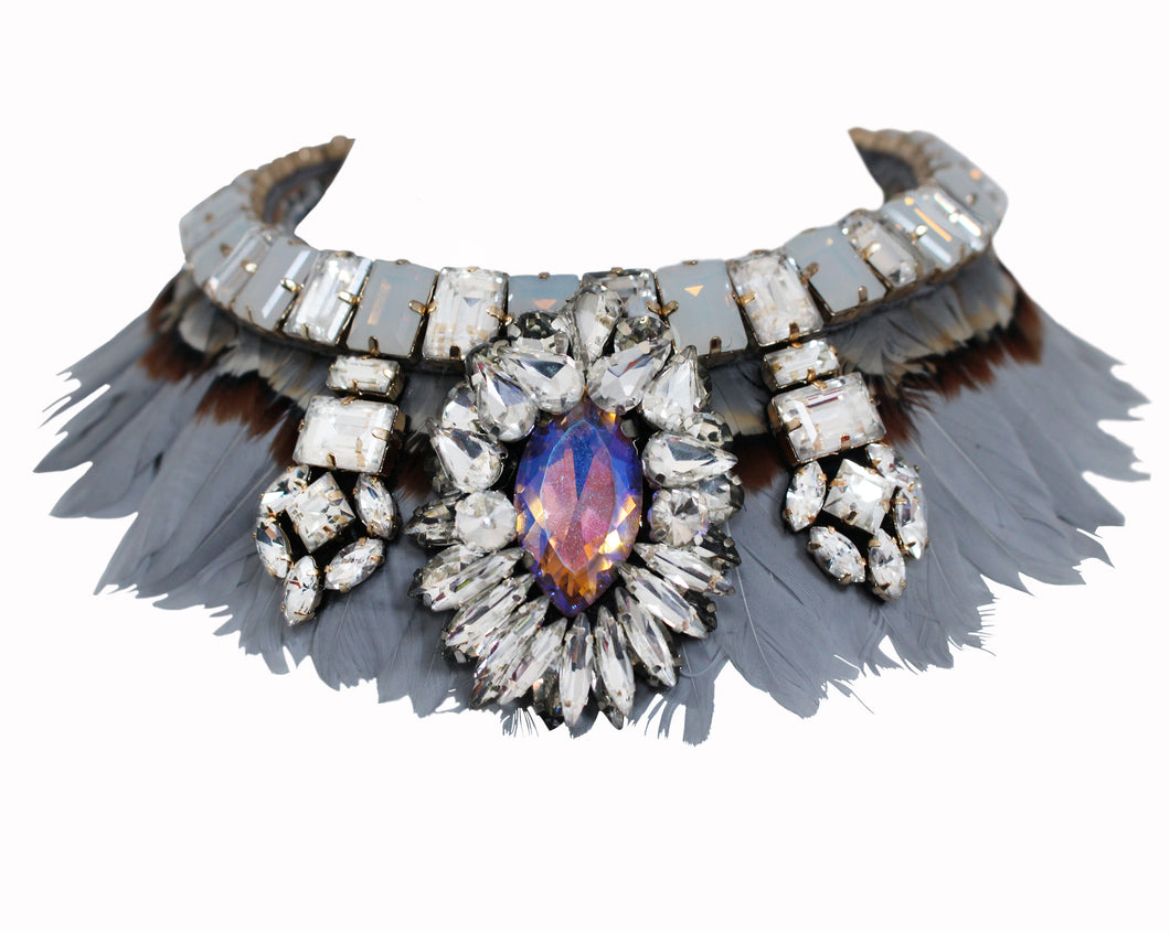 Elegant Grace necklace by Jolita Jewellery, handmade with layers of light grey feathers and adorned with a myriad of light-catching crystals.