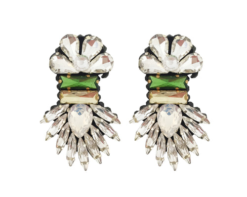 Harper earrings are decorated with clear crystals, featuring a green and citrine yellow for a dash of colour.