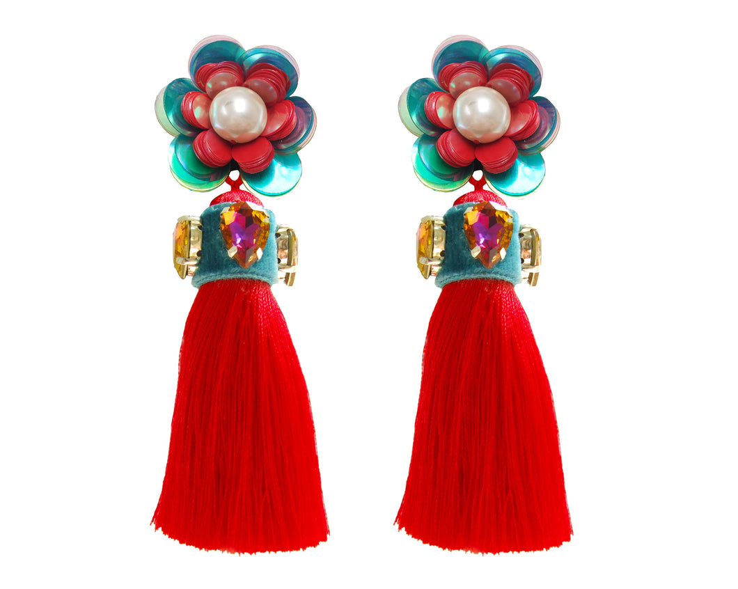 Vibrant Red tassel and flower earrings by Jolita Jewellery, embellished with crystals.