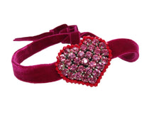 Ruby red velvet chocker with hand-embroidered rhinestone heart.