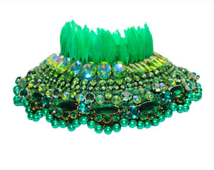 Opulent Lady Anabelle collar by Jolita Jewellery, adorned with a myriad of light-catching crystals, green faux pearls and finished with vibrant green feathers.