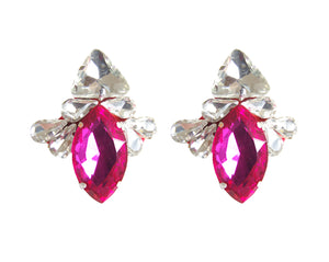Leila Earrings Iridescent Green with fuchsia
