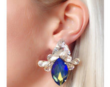 Leila Earrings Iridescent Blue with yellow