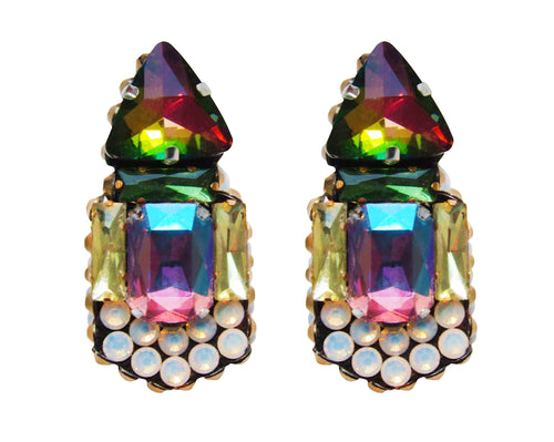Colourful statement earrings handmade with vibrant crystals by Jolita Jewellery
