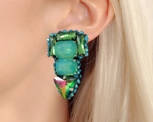 Opaque green and watermelon crystal earrings by Jolita Jewellery