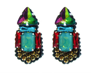 Colourful crystal earrings by Jolita Jewellery