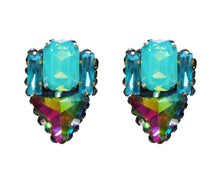 Small opaque green and watermelon crystal earrings by Jolita Jewellery
