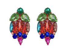 Mia earrings by Jolita Jewellery are embellished with scores of glistening crystals in red, green, blue and fuchsia.