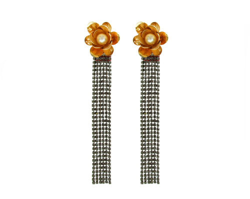Jolita Jewellery's sparkling earrings designed to dazzle! Adorned with dipped in gold flowers and elegant Swarovski pearls, they are embellished with scores of shimmering crystals that cascade down towards your shoulders.