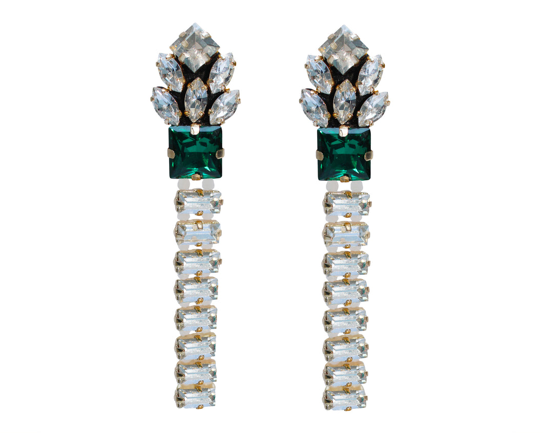 Elegant Paloma earrings by Jolita Jewellery are strung with glistening clear crystals and feature a beautiful emerald green crystal at the centre.