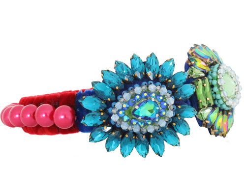Outlined with colourful cerise pearls, sitting on luxurious deep red velvet, this headband is embellished with dazzling crystal embroidery by Jolita Jewellery