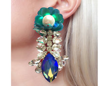 Reema Earrings Clear with Green Sequin Flower