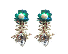 Reema Earrings Yellow with Green Sequin Flower